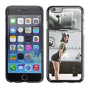 Caucho caso de Shell duro de la cubierta de accesorios de protección BY RAYDREAMMM - Apple Iphone 6 Plus 5.5 - Militares Pin Up Girl
