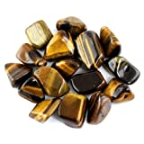 "Crystal Allies Materials: 1/2lb Bulk Tumbled Gold Tigers Eye Stones from South Africa - Large 1"" Polished Natural Crystals for Reiki Crystal Healing *Wholesale Lot*"