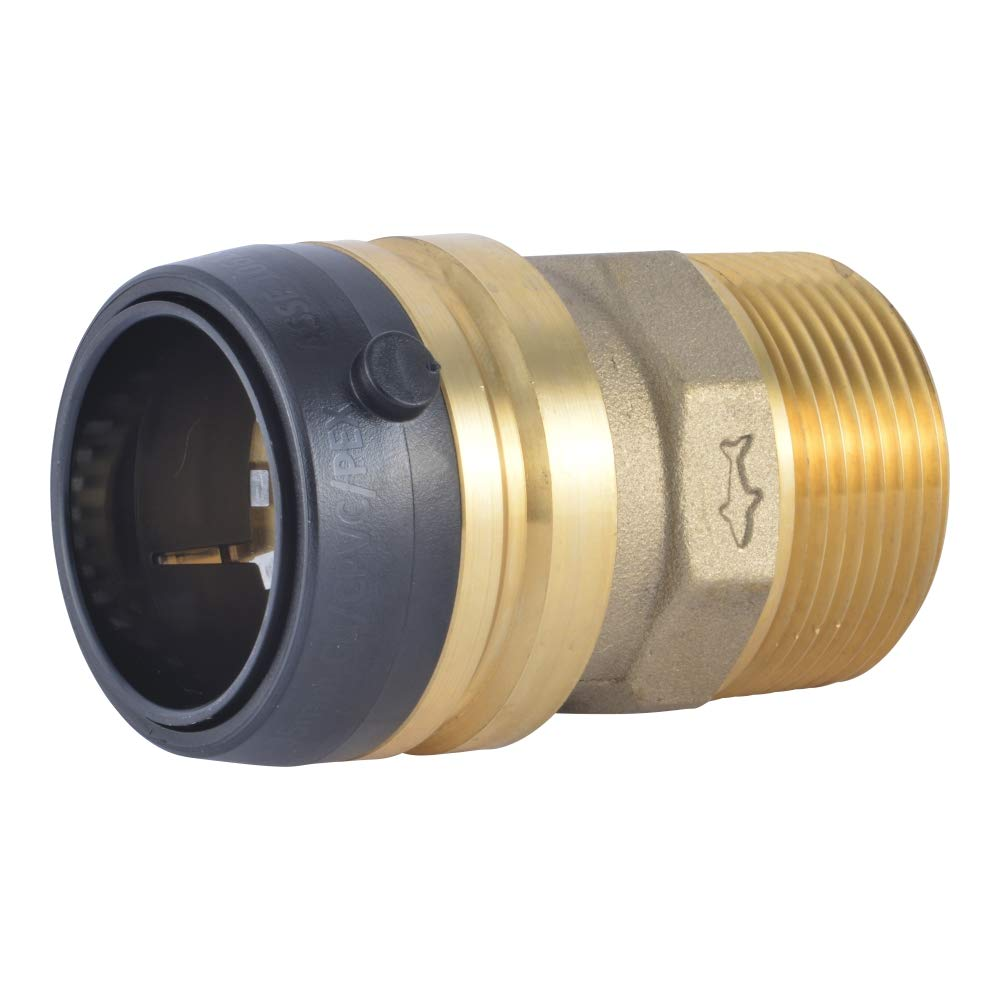 SharkBite 1-1/4 x 1-1/4-Inch MNPT Straight Connector, Male, Push-to-Connect, PEX, Copper, CPVC