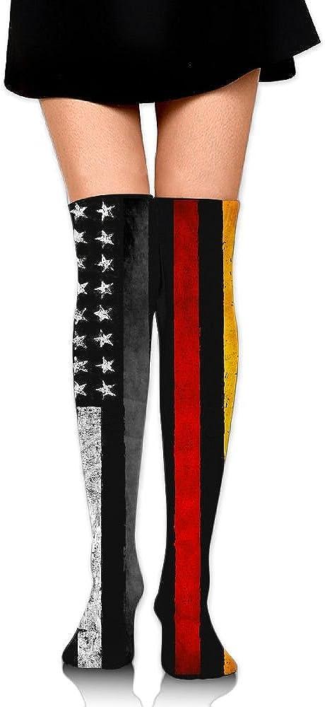 Knee High Socks German American Flag Womens Work Athletic Over Thigh High Long Stockings