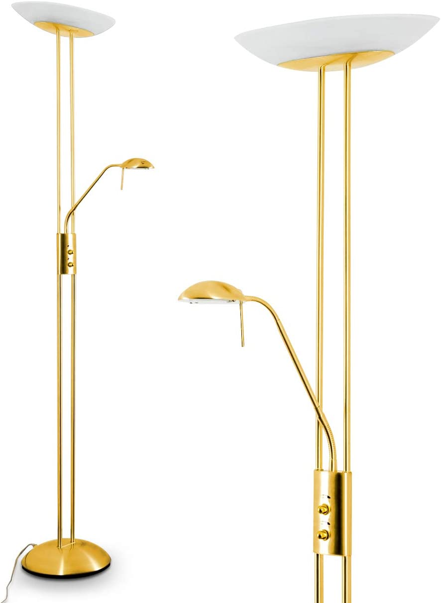 Led Stehlampe Lucca Dimmbare Stehleuchte Aus Metall In Gold Mit