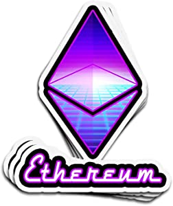 Hanabi 3 PCs Stickers Ethereum ETH Classic Retro HODL Moon 80S 4 × 3 Inch Die-Cut Wall Decals for Laptop Window