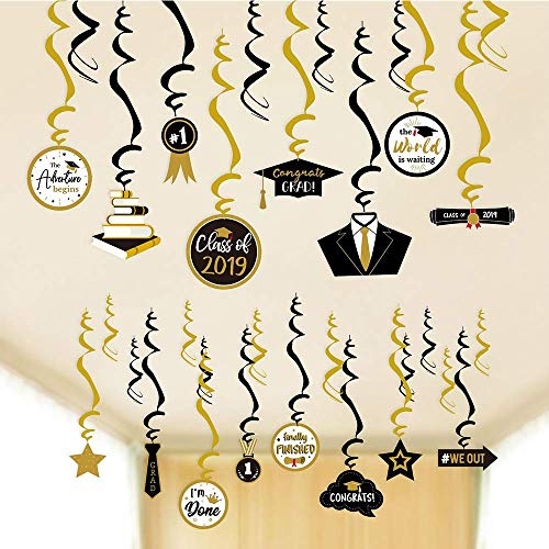 CocoHut Graduation Party Supplies Grad Hanging Decorations - Star/Mortarboards/Diplomas Ceiling Foil Swirls?30 PCS?