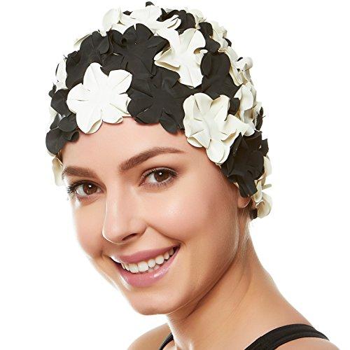 (Beemo Floral Petal Ladies Bathing Swim Cap - Black/White)