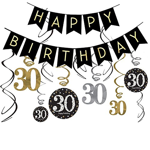 30th Birthday Decorations Kit- Gold Glitter Happy Birthday Banner & Sparkling Celebration 30 Hanging Swirls-30th Birthday Party Supplies