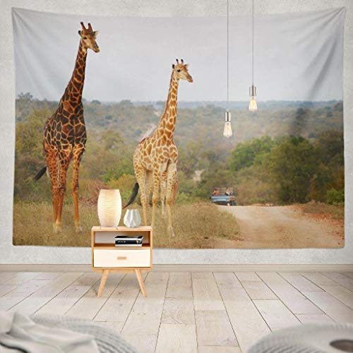 (Kutita Tapestry Wall Hanging South Africa with Safari Jeep Africa National Park Tourist Giraffe Jeep Big Wall Tapestry Home Decorations for Bedroom Living Room Dorm Decor in 80
