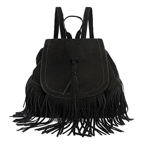Tote Backpack Steet Style Tassels Black Bag Shoulder Casual Handbag Catkit Womens wzHq1UzX