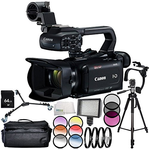 Canon XA15 Compact Full HD Camcorder 11PC Accessory Bundle – Includes 64GB SD Memory Card + 3PC Filter Kit (UV + CPL + FLD) + More - International Version (No Warranty) -  SSE