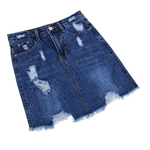 Fenteer Femme Jupe Courte Taille Haute en Jean Mini-Jupe Slim Sexy Printemps Et bleu marin