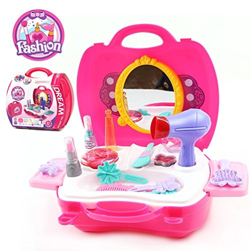 Ange-la Makeup for Girls – Pretend Play & Dress-up Make up Toy Kit Best Gift Set for Little Girls & Kids Include 21 Pieces Beauty Salon Toys W/ Make-up Box free shipping