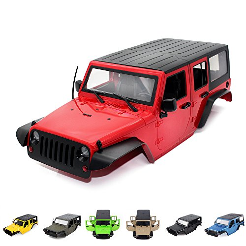 INJORA Jeep Wrangler Rubicon Body/Shell for Traxxas TRX4 82046-4 Kit Axial SCX10 II 90046 90047,12.3inch/313mm Wheelbase,Hard Plastic