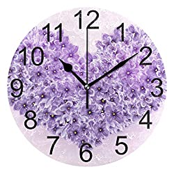 LUCASE LEMON ALEX Purple Love-Shaped Flower Round Acrylic Wall Clock Non Ticking Silent Clocks for Home Decor Living Room Kitchen Bedroom Office School