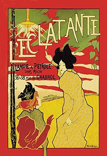 This poster by Robbe shows the influence of Japanese wood block prints on the Art Nouveau movement The two women as if halted in the moment are pointing to a kerosene lamp that lays claim to a more
