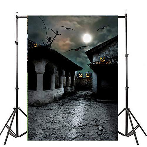 YOcheerful Halloween Backdrops Pumpkin Lantern Background Photography Studio (E,90x150cm) -