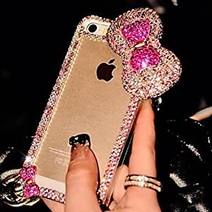 SHOUJIKE Shiny Big Bowknot with Diamond Hard Back Cover for iPhone 4/4S