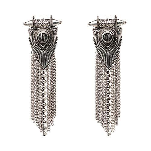 Fringed Jewelry Vintage Handmade Firenze Statement Earrings Long Metal Chain Tassel Stud Earring For Women ()