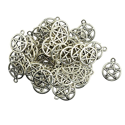 - Homyl 50 Pieces Alloy Necklace Pendant Round Star Pentacle Charms Connectors Handmade DIY Jewelry Crafts