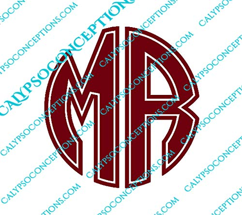 Customizable Sharp Circle 2 Letter Monogram Vinyl Decal - Perfect for Laptops, Vehicle windows, Notebooks, Travel Mugs, Yeti cups, etc. Choose Color & Size ()
