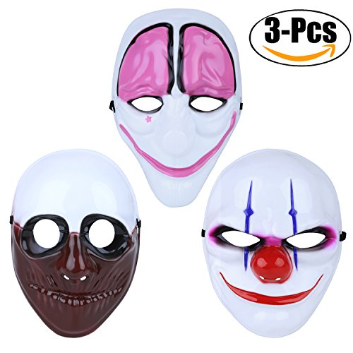 Payday Mask,Outgeek 3 Pcs Hoxton Dallas Wolf Payday Mask Clown Mask Airsoft Payday Mask for Xmas Party Kids (Payday 2 Hoxton Costume)