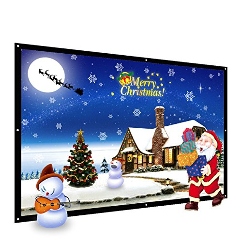 Screen Hdtv (120-Inch Projector Screen, Thustar Outdoor Portable Projector Screen PVC Fabric 16:9 Suitable for HDTV, Sports, Movies and Presentations)