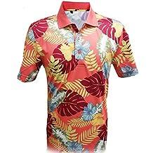 Monterey Club Mens Dry Swing Wooden Hawaiian Print Polo Shirt #1535