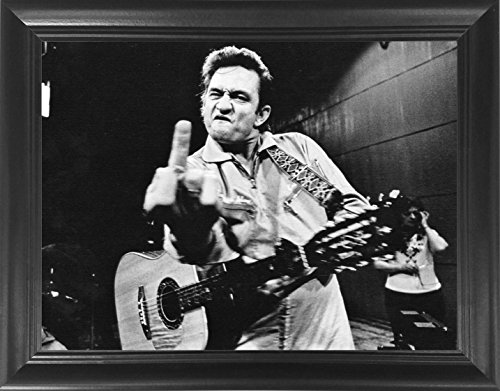 Johnny Cash Middle Finger Poster Framed 3D Wall Art - Classic Rock Country Vinyl 3D Lenticular Posters - 14.5x18.5'' - Unbelievable Life Like 3D Print, Cool Unique Modern Art Décor Picture by The 3D Art Company