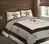 Unidos $1 3pc Embroidery Western Lone Star Rustic Quilt Set Bedspread :: Turquoise Red & Beige (Beige, King)