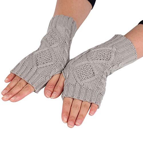 Loneflash Gloves, Fashion Long Knitted Arm Diamond Fingerless Winter Wrist Soft Warm Mitten Gloves (Grey) ()