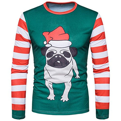 Mock Layer Dog (Elogoog Men's Silm Fit Christmas Ugly Reindeer Xmas Party Long Sleeve T-Shirt (L, Multicolor (Dog)))