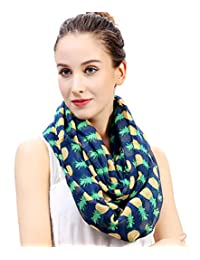Lina & Lily Pineapple Print Women's Infinity Loop Scarf (Navy Blue)