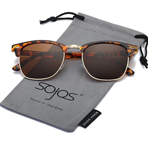 Frame Tortoise Brown (SojoS Clubmaster Semi Rimless Polarized Sunglasses Clear Lens Eyeglasses SJ5018 SJ1043 SJ2019 With Tortoise Frame/Brown Polarized Lens)