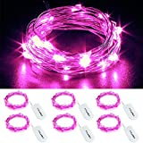 cylapex 6 pack pink fairy string lights battery operated fairy lights firefly lights micro led starry