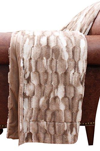Thro by Marlo Lorenz TH010125001 Faux Fur Throw Blanket, Natural