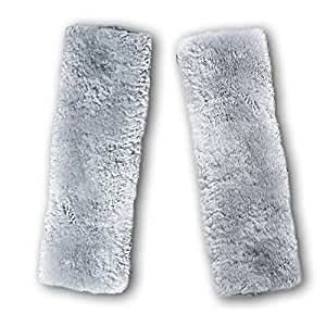 Zento Deals Soft Faux Sheepskin Seat Belt Gray Shoulder Pad- Two Pack- A Must Have for All Car Owners for a More Comfortable Driving