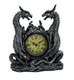 Twin Evil Dragons Antiqued Mantel Clock Table Desk by Private Label