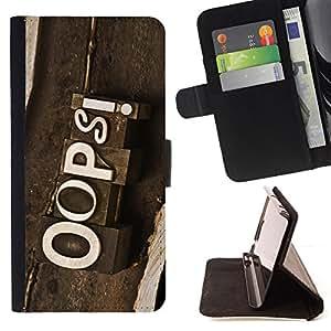 BullDog Case - FOR/Samsung Galaxy S4 Mini i9190 / - / OOPs Vintage Sign /- Monedero de cuero de la PU Llevar cubierta de la caja con el ID Credit Card Slots Flip funda de cuer