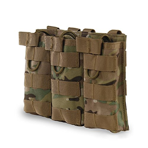 Single M16 (Outry M4 M16 AR-15 Type Magazine Pouch Mag Holder - Triple/Double / Single Airsoft MOLLE Mag Pouch - Open Top Version - Triple - Multicam/CP)