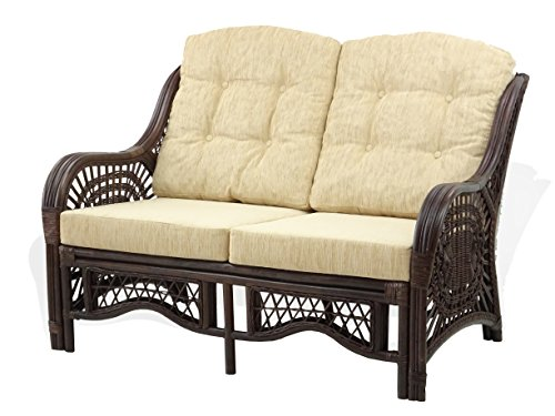 Malibu Living Room Sofa - Malibu Lounge Loveseat Sofa Natural Rattan Wicker Handmade Design Cream Cushions, Dark Brown