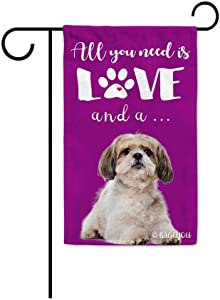 BAGEYOU All You Need is Love and a Dog Shih Tzu Decorative Garden Flag for Outside Cute Puppy Paws Purple Background 12.5X18 Inch Printed Double Sided