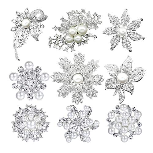 - Mutian Fashion Lot 9pc Silver-Tone Faux Pearl Rhinestone Crystal Flower Brooches Pins