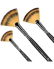 Fan Paint Brushes, Anti-Shedding Nylon Hair Wooden Handle Artist Paint Brush Set for Watercolor, Acrylics, Ink, Gouache, Oil, Tempera Painting (3Nylon)