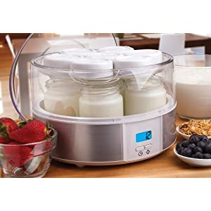 Euro Cuisine YMX650 Automatic Digital Yogurt Maker, White/Clear