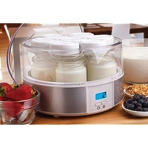 Euro Cuisine YMX650 Automatic Digital Yogurt Maker, White/Clear