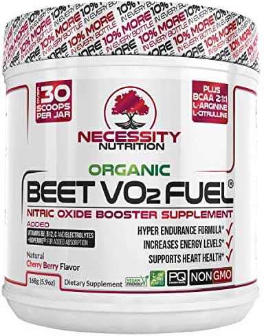 Organic Beet Root Powder V02 Fuel and BCAA Amino Acids 15.4 Servings   Nitric Oxide Supplement   Super Endurance, Blood Pressure, and Cardiovascular Health   Juice Extracts Paleo