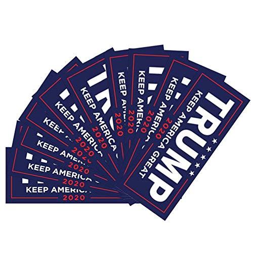 Yobooom 10 Pcs Donald Trump President 2020 Keep America Great Election Patriotic Bumper Sticker Auto Decal Conservative Republican (Blue)