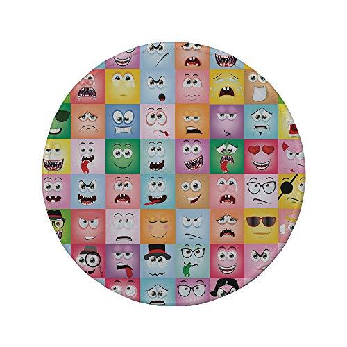 Non-Slip Rubber Round Mouse Pad,Humor Decor,Set of Internet Cartoon Meme Funny Facial Gesture Emotion Icons Digital Illustration,Multi,11.8