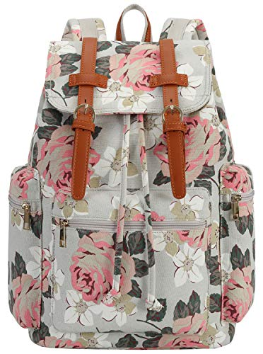 BLUBOON Women Girls Laptop Backpack Travel Canvas Leather Casual Bookbag Rucksack (flowers Grey)