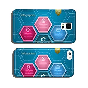 Business Infographics hexagon style design. Vector illustratio cell phone cover case Samsung S5