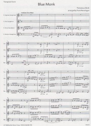 Blue Monk for Saxophone Quartet (Saxophone Quartet Music)