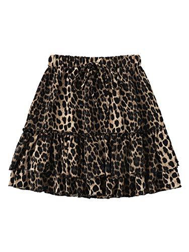 SheIn Women's Leopard Print Drawstring Waist Layer Ruffle Hem Short - Tiered Leopard